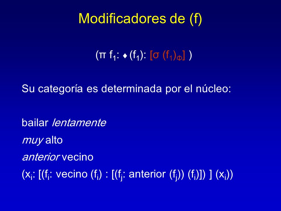 Modificadores de (f) (π f1: ♦ (f1): [σ (f1)Φ] )